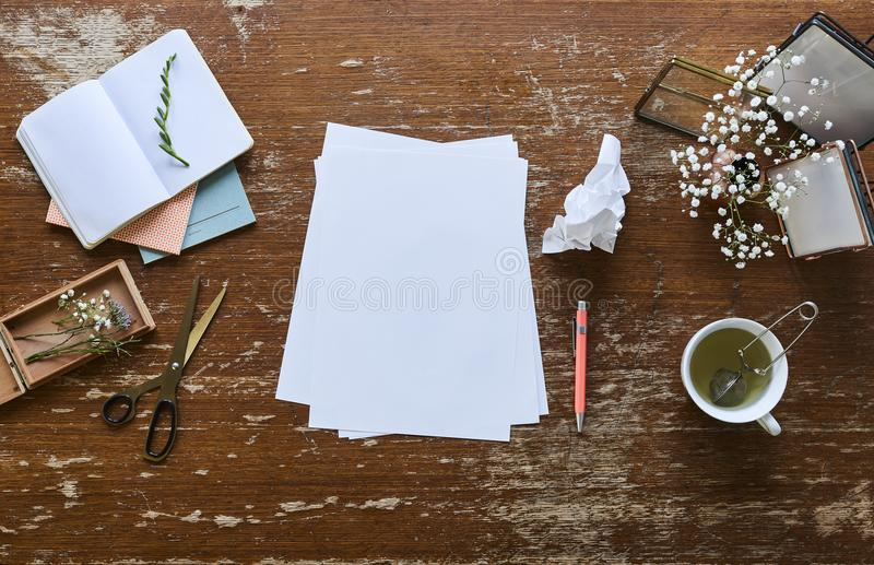 Lo scrittorio creativo rappresenta la tazza dei fiori di tè ed i fogli di carta immagine stock libera da diritti