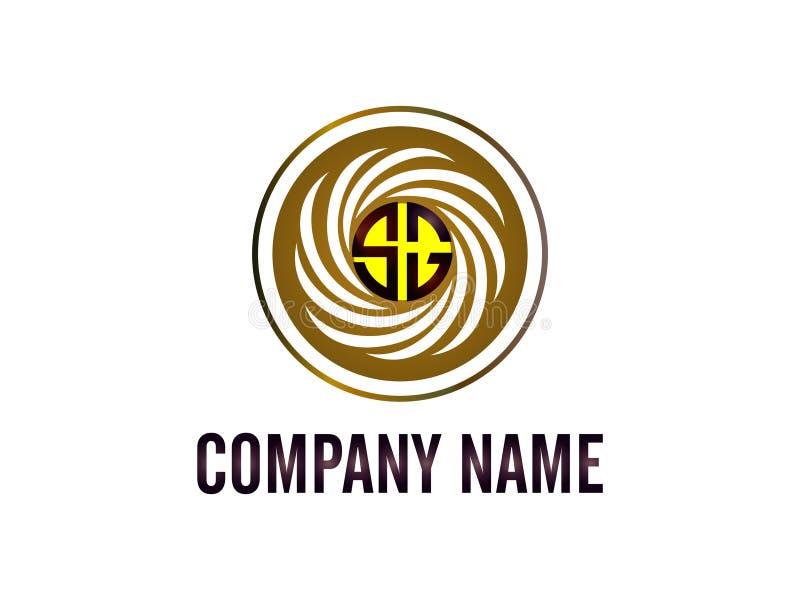 Lo SG di logo della lettera iniziale con la linea bianca di circonferenza Elemento di Logo Vector Graphic Branding Letter di prog illustrazione vettoriale