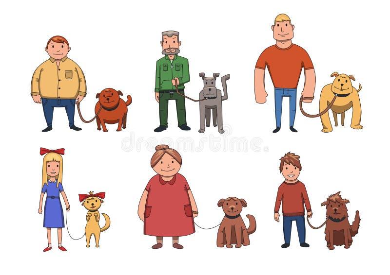 Lo sguardo dei cani gradisce i loro proprietari La gente che cammina i loro cani Illustrazione dei caratteri di vettore del fumet illustrazione di stock