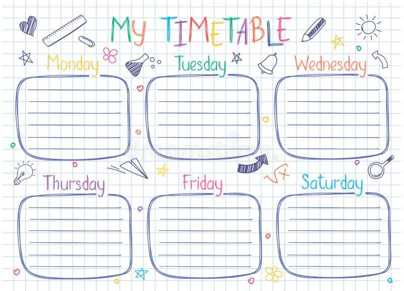 Lo shedule settimanale di lezioni nello stile impreciso decorato con la scuola disegnata a mano scarabocchia illustrazione di stock
