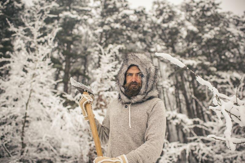 lo skincare e la barba si preoccupano nell'inverno, barba calda nell'inverno immagine stock libera da diritti