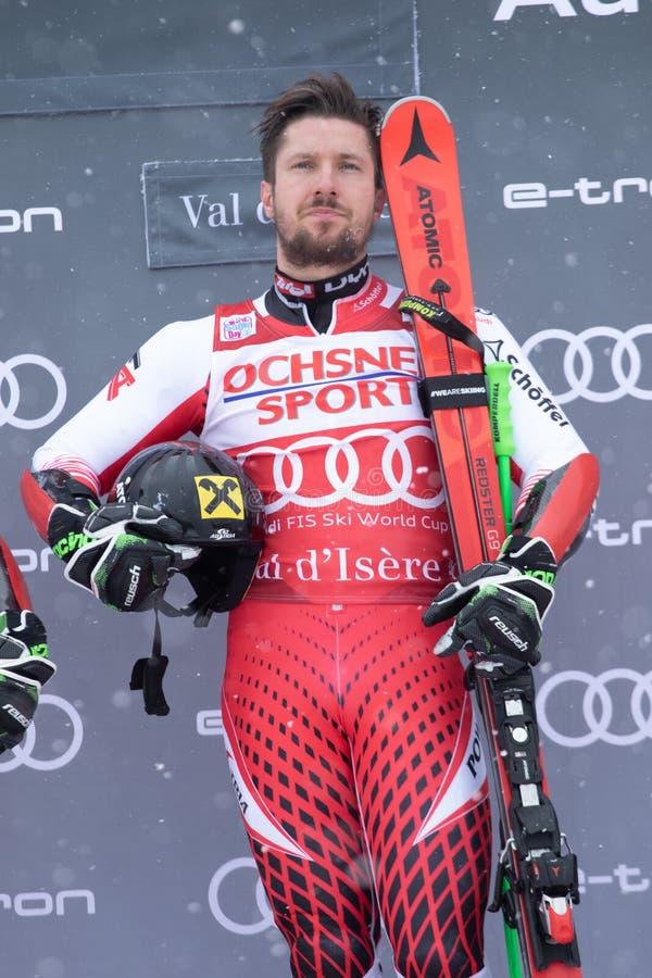 Lo slalom gigante 2018 degli uomini di Val D'Isere fotografie stock