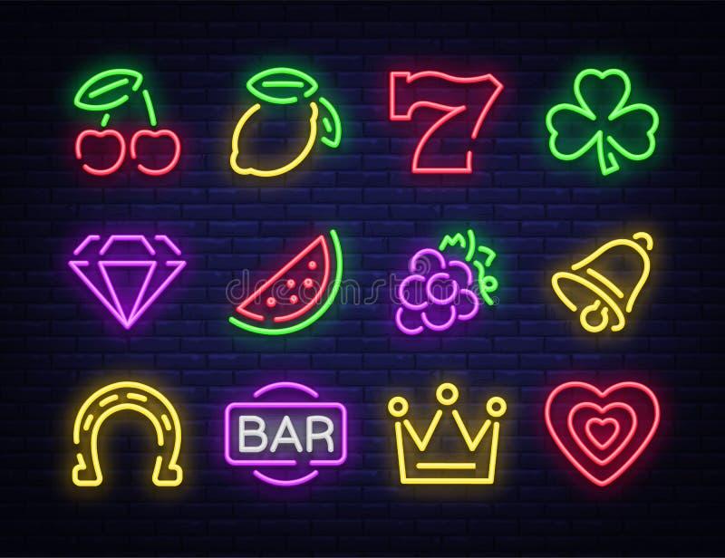 Lo slot machine è un'insegna al neon Raccolta delle insegne al neon per una macchina di gioco Icone del gioco per il casinò Illus illustrazione vettoriale