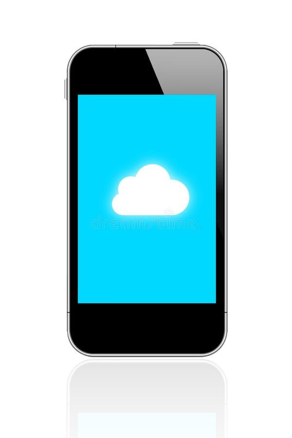 Lo Smart Phone collega la computazione della nuvola illustrazione di stock