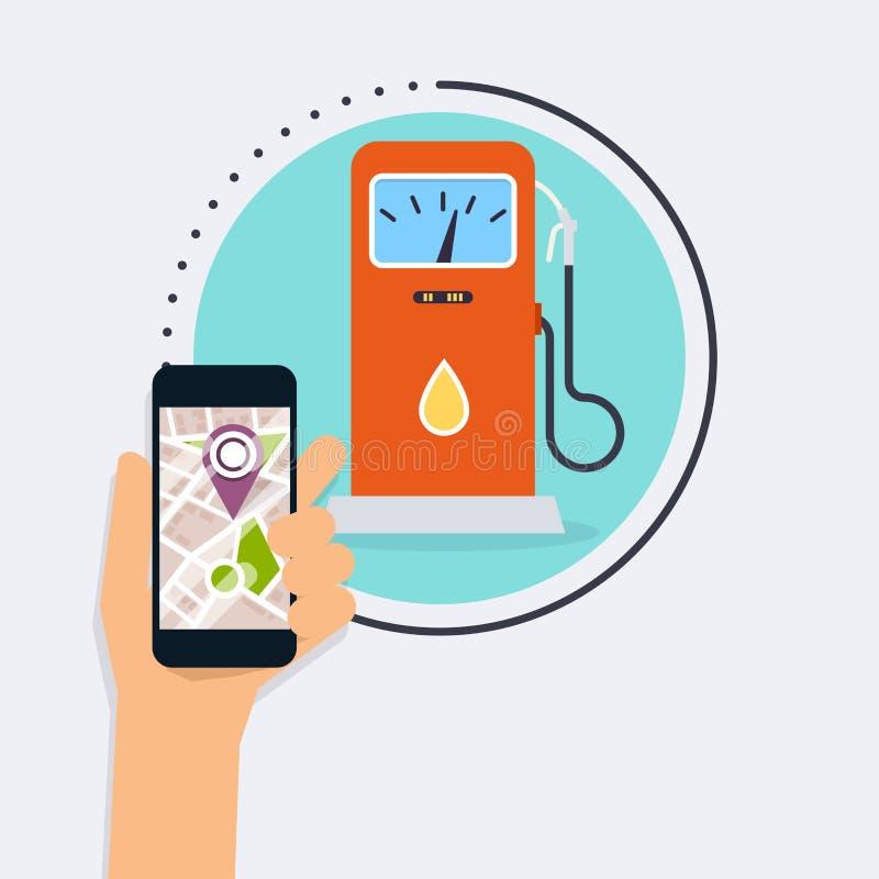 Lo Smart Phone mobile della tenuta della mano con la ricerca dell'applicazione si intossica immediatamente illustrazione vettoriale