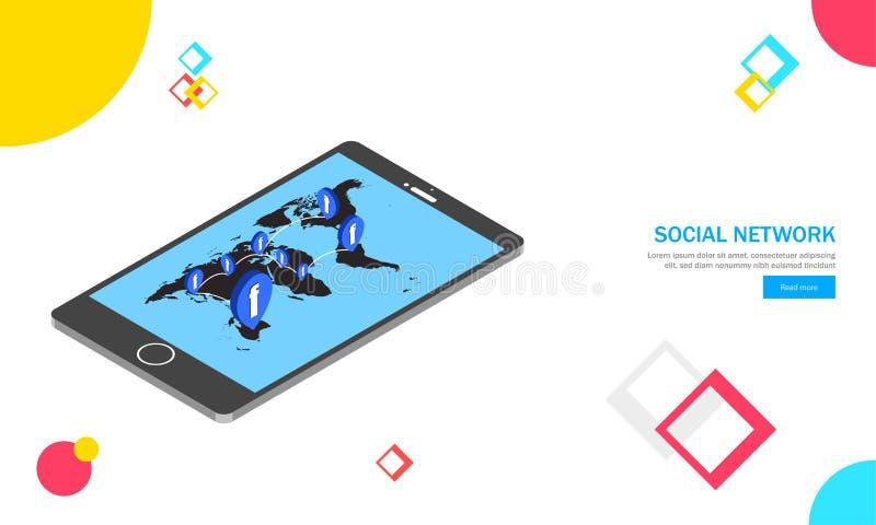 Lo smartphone isometrico con la mappa di mondo, utenti multipli appartiene a ot royalty illustrazione gratis