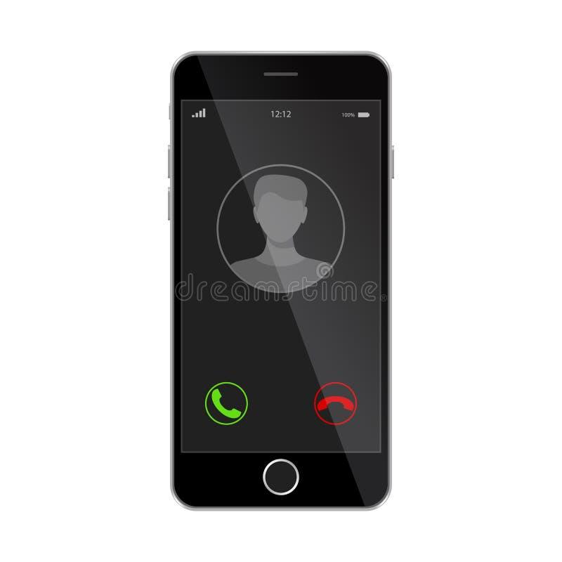 Lo smartphone realistico con la chiamata in arrivo su esposizione, vettore ha isolato l'illustrazione n illustrazione vettoriale