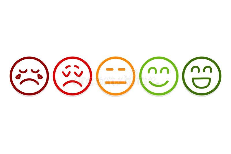 Lo smiley affronta le icone di valutazione Rassegna del cliente, valutazione, come i concetti illustrazione vettoriale