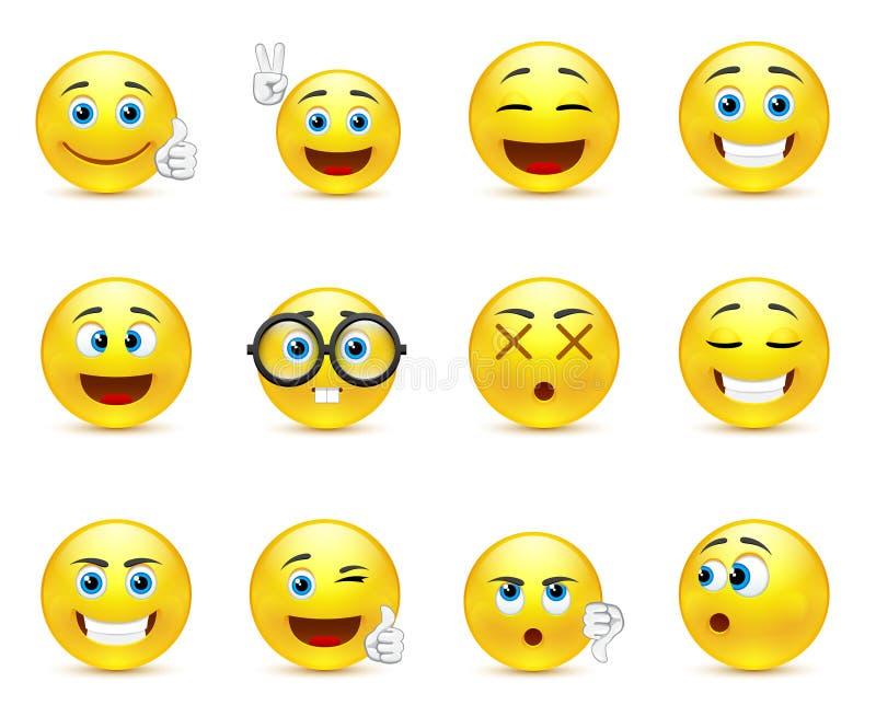 Lo smiley affronta le immagini che esprimono le emozioni differenti illustrazione vettoriale