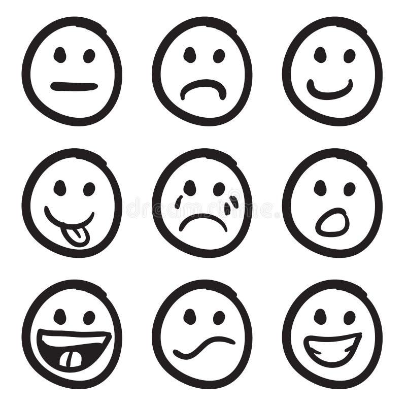 Lo smiley del fumetto affronta i Doodles royalty illustrazione gratis
