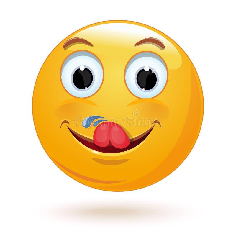Lo smiley si lecca Illustrazione di vettore royalty illustrazione gratis