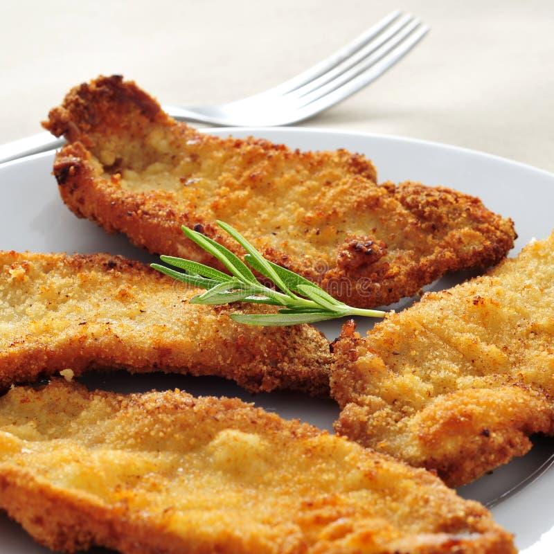 Lo Spagnolo escalopa de pollo un milanesa della La, pollo impanato raccorda fotografia stock libera da diritti