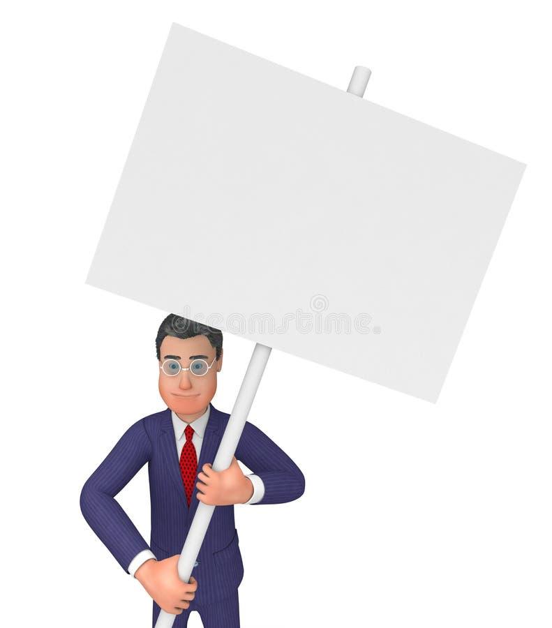Lo spazio del testo di With Signboard Indicates dell'uomo d'affari ed annuncia illustrazione di stock