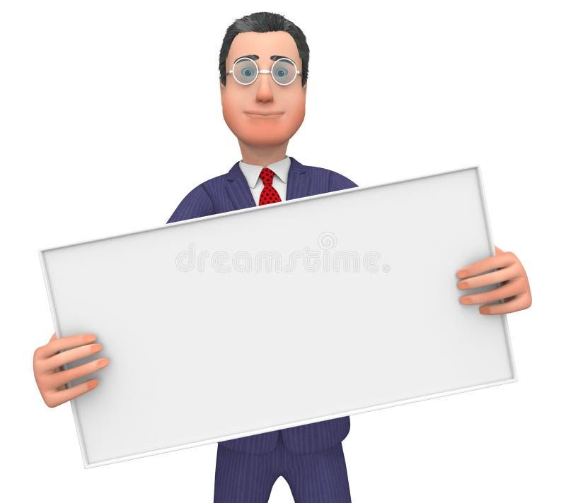 Lo spazio del testo di With Signboard Shows dell'uomo d'affari ed annuncia illustrazione di stock