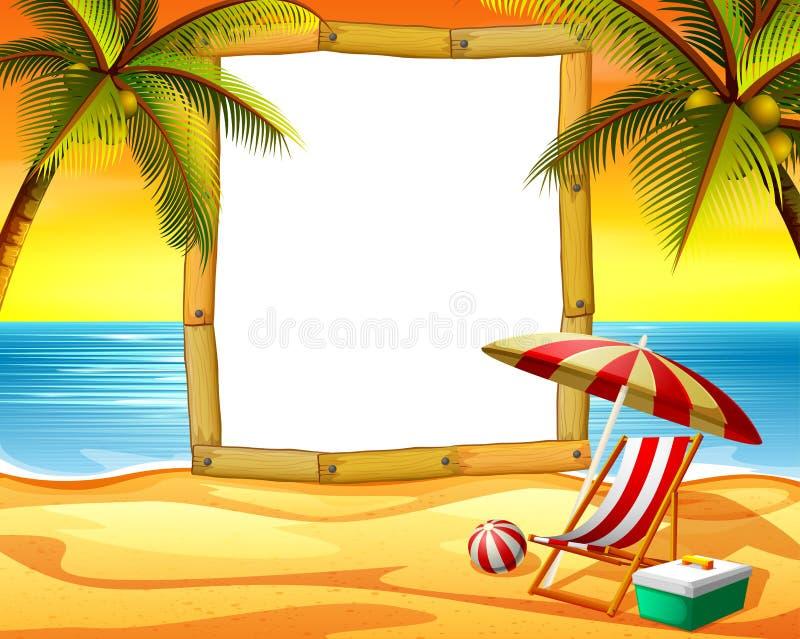 Lo spazio della struttura di legno con i precedenti della spiaggia di tramonto ed alcuni cocchi illustrazione di stock