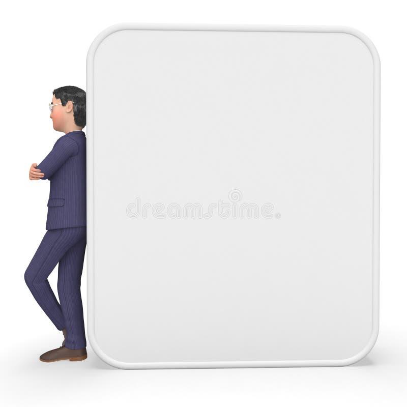 Lo spazio di Beside Signboard Means dell'uomo d'affari ed annuncia royalty illustrazione gratis