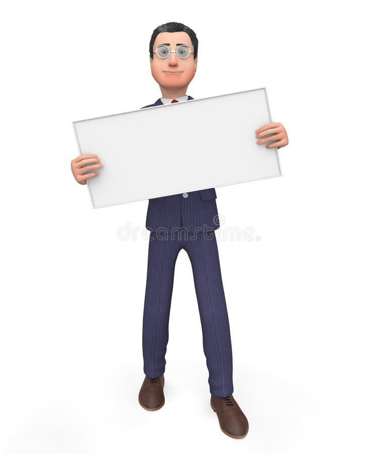 Lo spazio di With Signboard Shows dell'uomo d'affari ed annuncia illustrazione vettoriale
