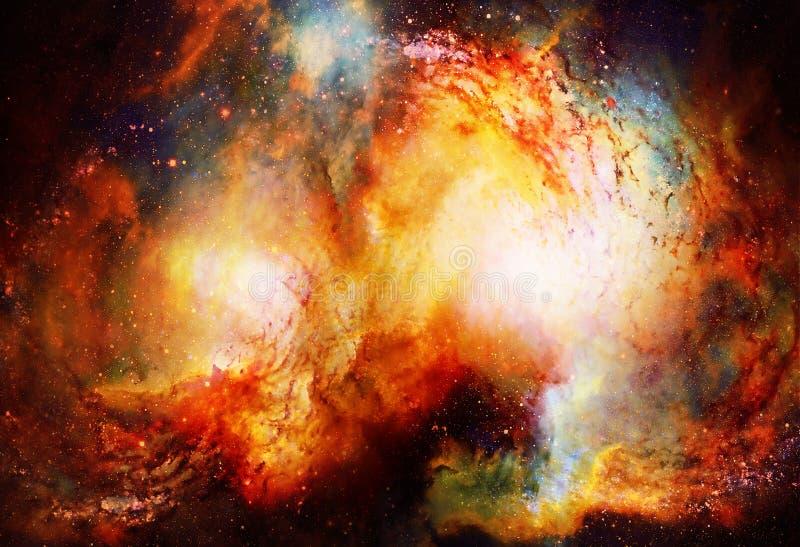 Lo spazio e le stelle cosmici, colorano il fondo astratto cosmico Effetto di fuoco nello spazio royalty illustrazione gratis