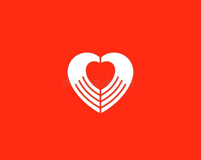 Lo spazio negativo del cuore passa il logotype di vettore Simbolo medico del segno di carità illustrazione vettoriale