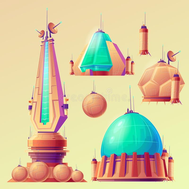 Lo spazio non identificato obietta, UFO, astronavi dello straniero illustrazione di stock