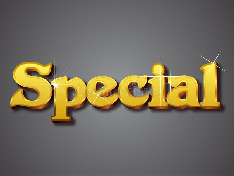 Lo Special scrive nella fonte tipografica dell'oro 3D illustrazione vettoriale