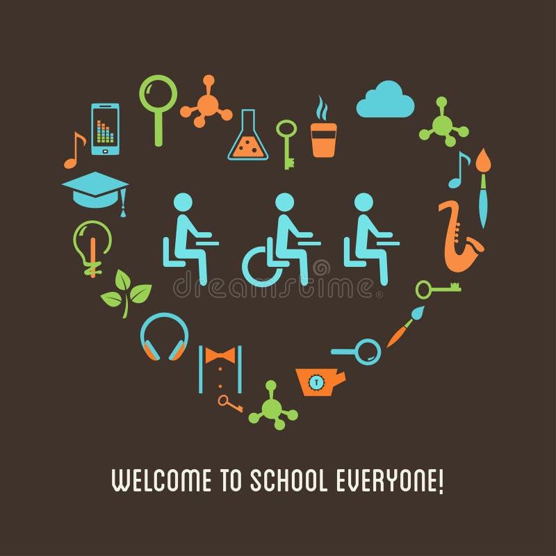 Lo speciale ha bisogno dell'illustrazione di istruzione dell'inclusione degli studenti illustrazione di stock