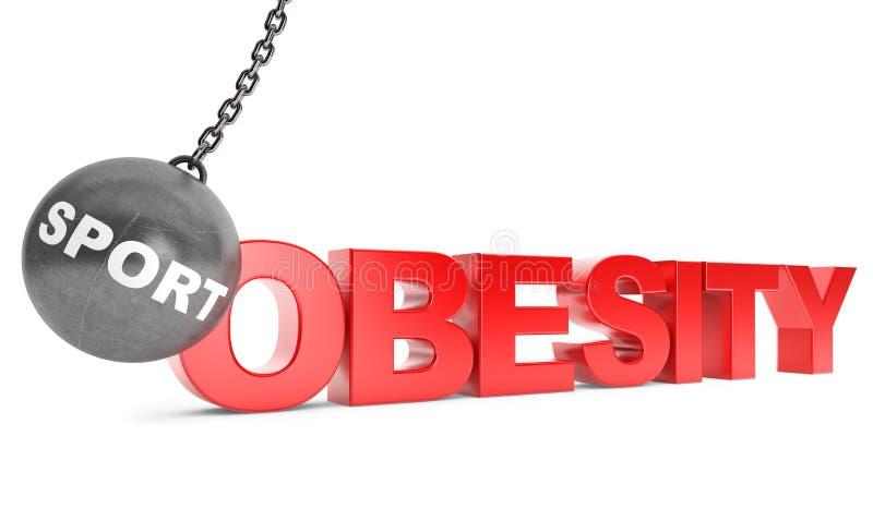 Lo sport distrugge il concetto dell'obesità Distruzione della palla come sport con Obes fotografie stock