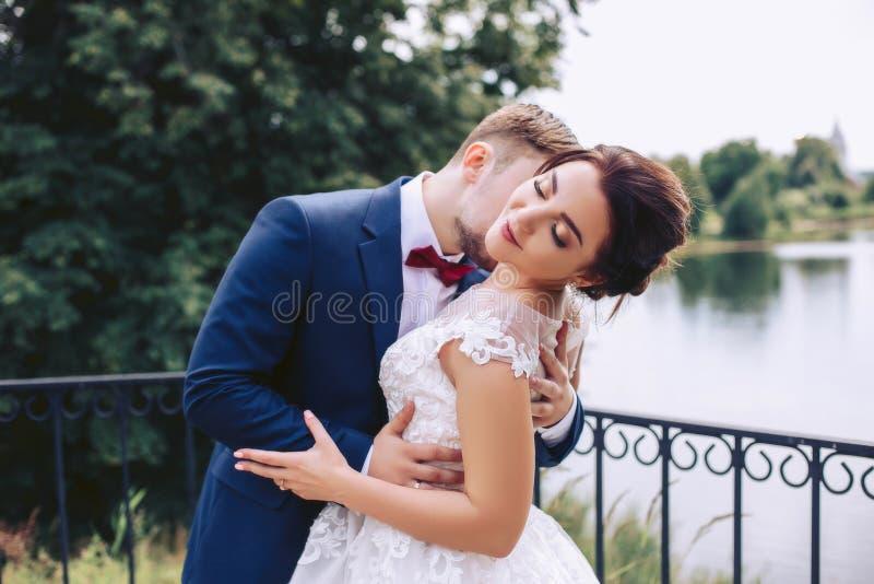 Lo sposo bacia la sposa sul pilastro immagini stock