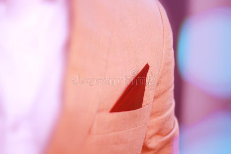 Lo sposo in vestito rosa elegante, dettagli di nozze sullo sposo elegante ha vestito il costume di nozze fotografia stock libera da diritti