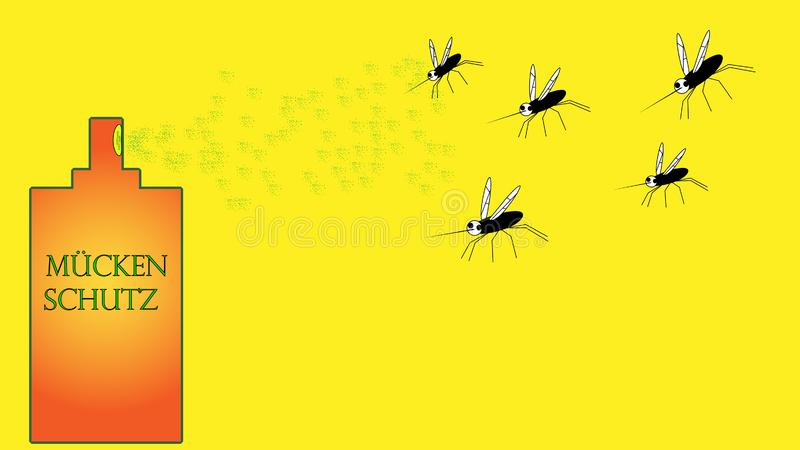 Lo spray insetticida uccide i lotti delle zanzare illustrazione di stock