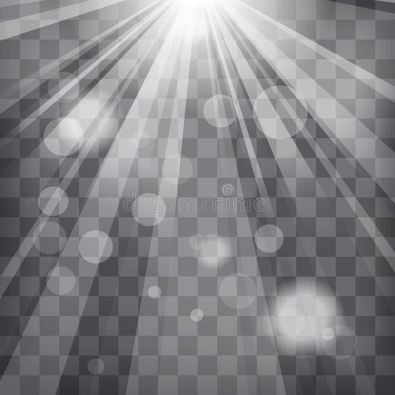 Lo sprazzo di sole rays con le luci della sfuocatura su fondo striato illustrazione vettoriale