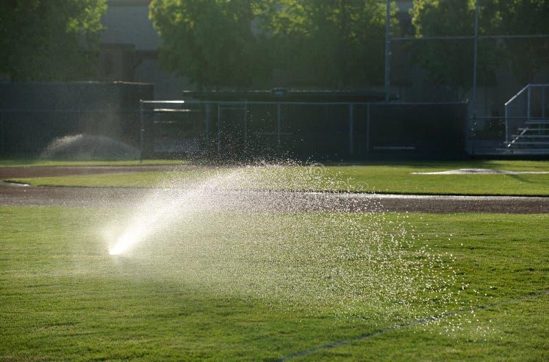 Download Lo Spruzzatore Del Campo Di Baseball Innaffia L'erba, Destra Aguzza Un Giorno Soleggiato Immagine Stock - Immagine di città, presto: 30827725