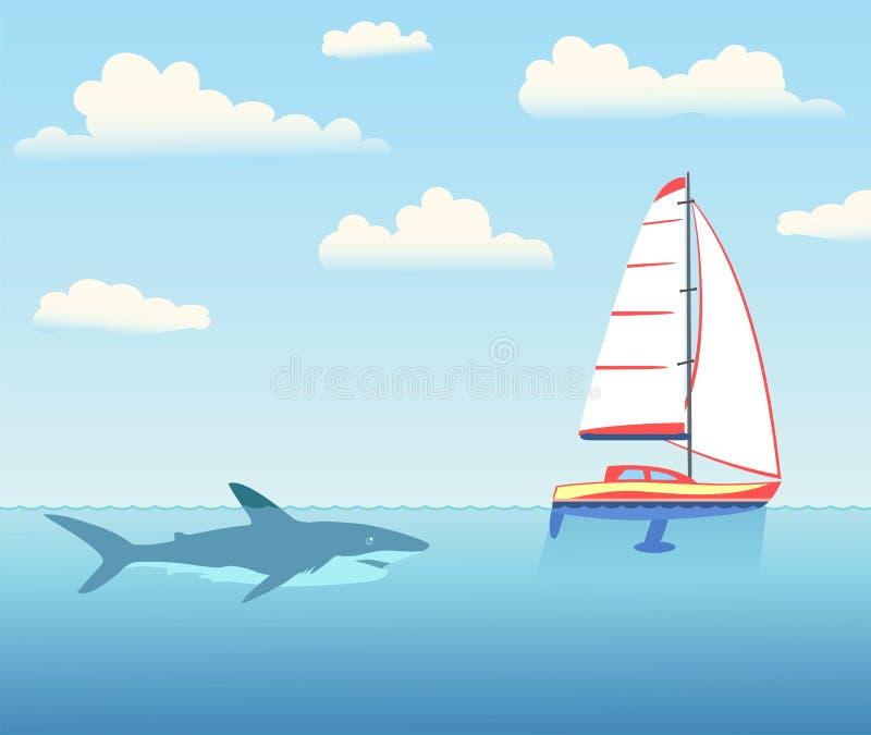 Lo squalo sta perseguendo l'yacht illustrazione vettoriale