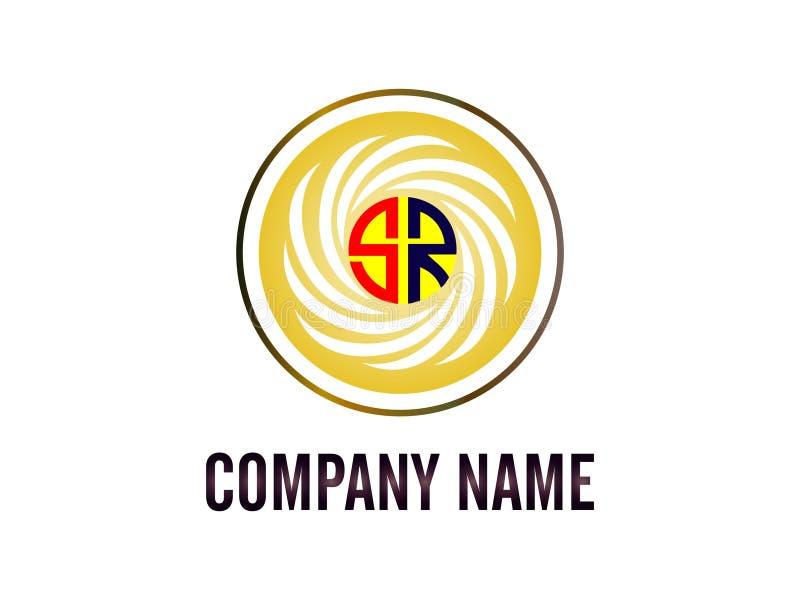 Lo SR di logo della lettera iniziale con la linea bianca di circonferenza Elemento di Logo Vector Graphic Branding Letter di prog illustrazione di stock