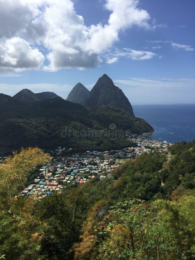 Lo St Lucia, natura, vacanza, isola, montagne fotografia stock libera da diritti