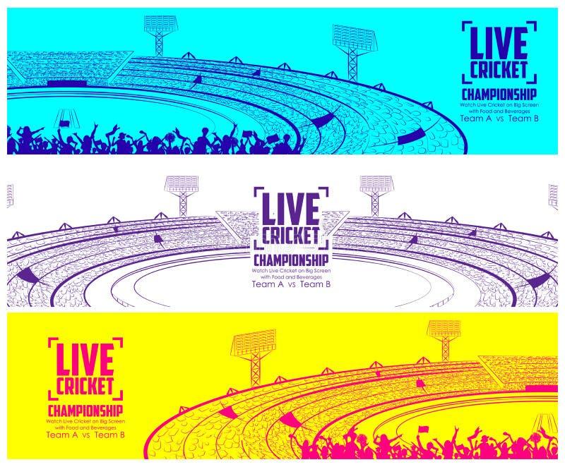 Lo stadio del cricket con il passo per la partita di champoinship ed il sostenitore smazzano il gruppo incoraggiante della gente royalty illustrazione gratis