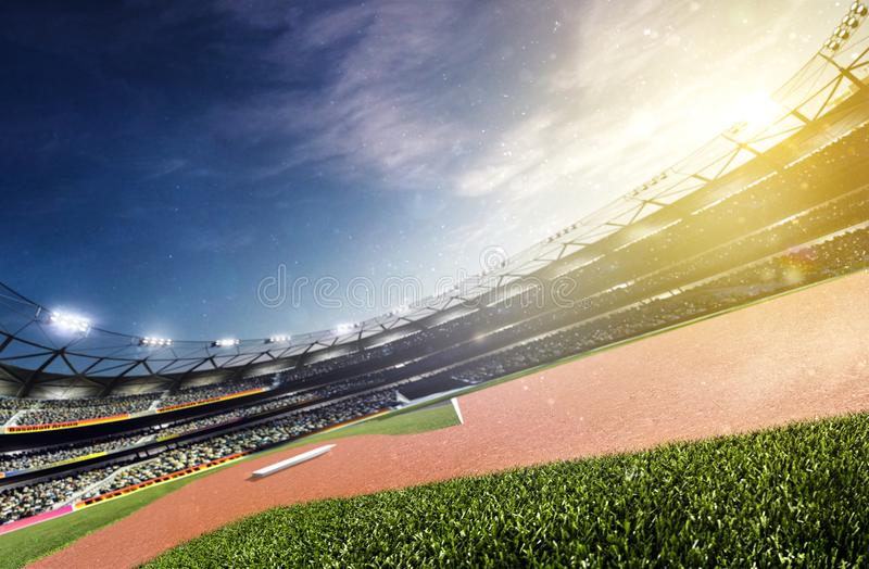 Lo stadio di baseball vuoto 3d rende il panorama