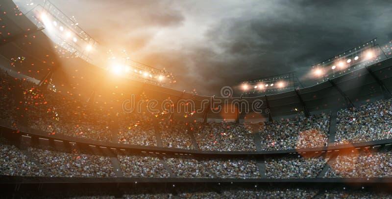 Lo stadio di calcio immaginario con le nuvole scure, rappresentazione 3d royalty illustrazione gratis