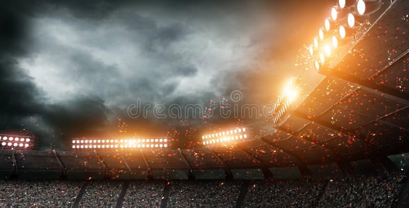 Lo stadio di calcio immaginario, rappresentazione 3d illustrazione vettoriale