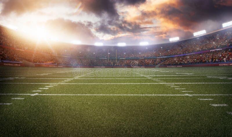 Lo stadio di football americano 3D nei raggi luminosi rende immagine stock