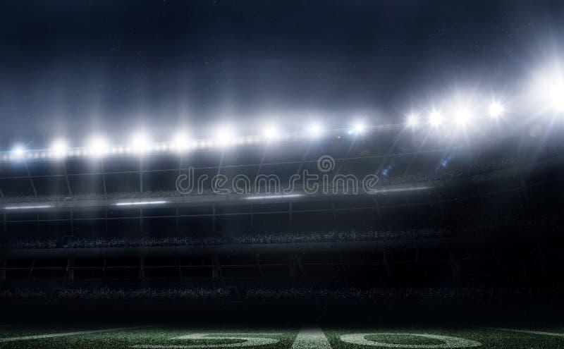 Lo stadio di football americano vuoto 3D alle luci alla notte rende royalty illustrazione gratis