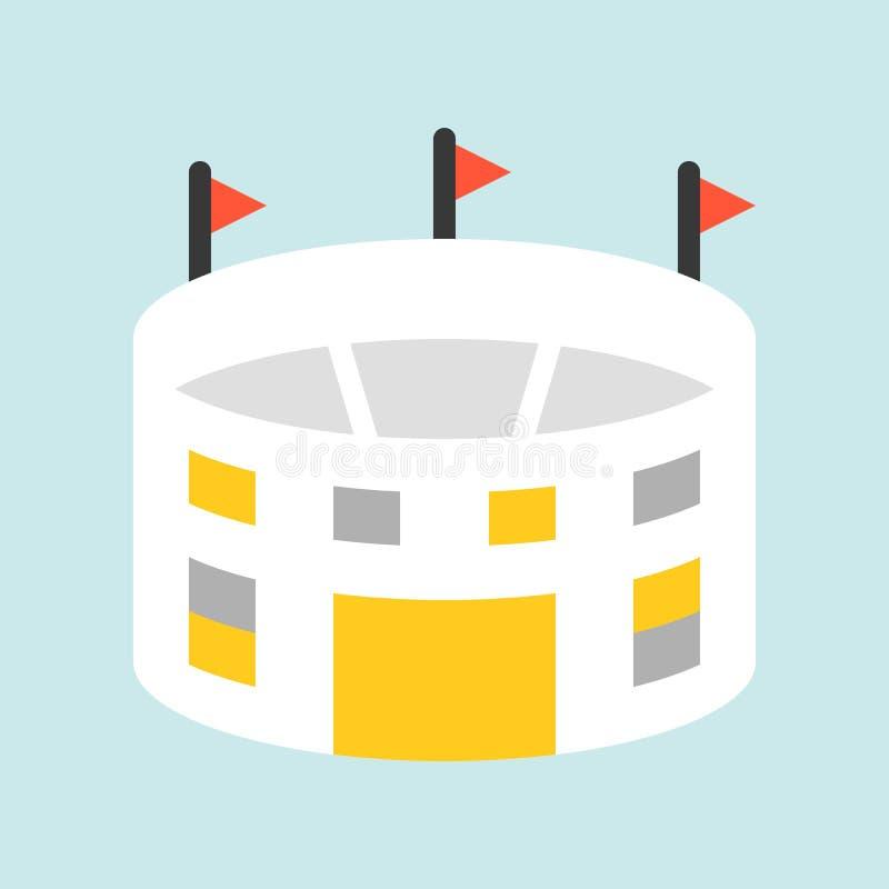 Lo stadio o il campo, lo sport piano dell'icona ed il calcio si sono riferiti illustrazione di stock