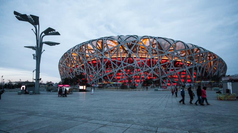 Lo Stadio Olimpico, Pechino, Cina fotografie stock libere da diritti