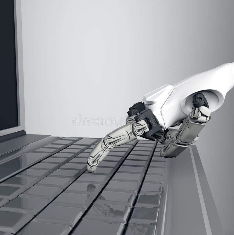 Lo stampaggio a mano robot fornisce la chiave sulla tastiera rappresentazione 3d lavorando con la tastiera di computer fotografia stock libera da diritti