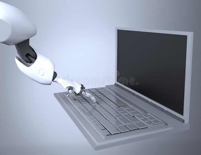 Lo stampaggio a mano robot fornisce la chiave sulla tastiera rappresentazione 3d lavorando con la tastiera di computer fotografie stock
