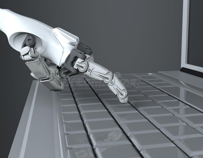 Lo stampaggio a mano robot fornisce la chiave sulla tastiera rappresentazione 3d lavorando con la tastiera di computer immagine stock libera da diritti
