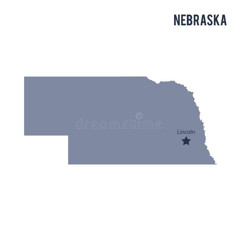 Lo stato della mappa di vettore del Nebraska ha isolato su fondo bianco illustrazione vettoriale