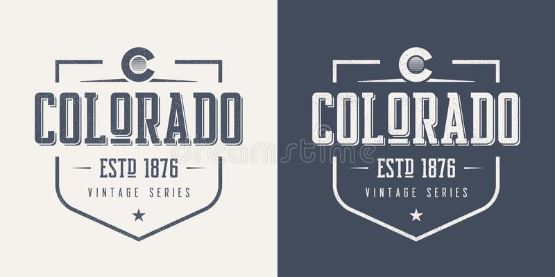 Lo stato di Colorado ha strutturato il desig d'annata della maglietta e dell'abito di vettore royalty illustrazione gratis