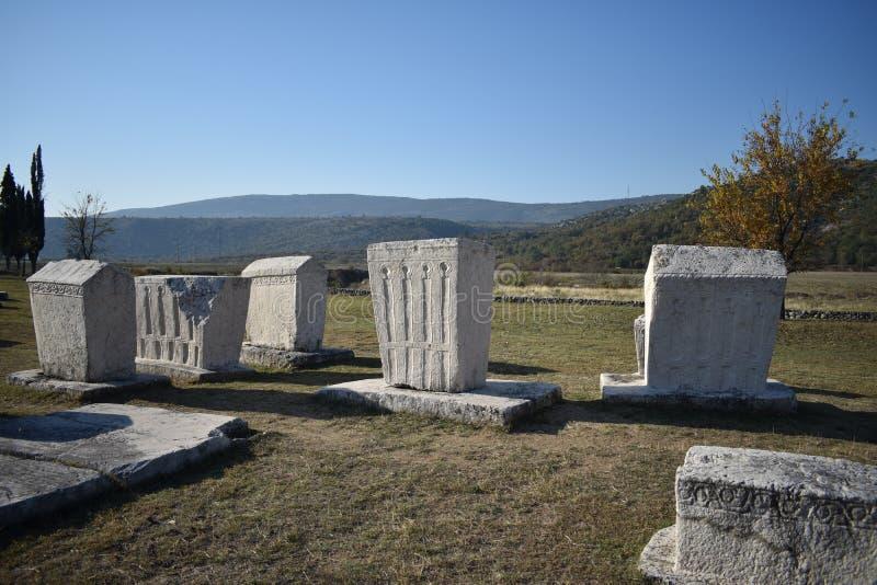 Lo stecci famoso nella necropoli medievale di Radimlja fotografia stock libera da diritti