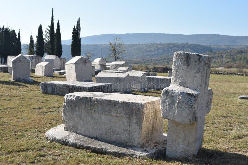 Lo stecci famoso nella necropoli medievale di Radimlja immagini stock libere da diritti